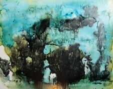 1983 Abstract art print landscape signed