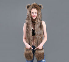 2018 New Women Faux Fur Animal Ears Hat Gloves Mittens Scarf Snood Hood Paws