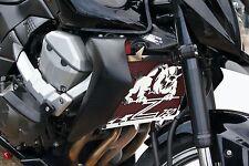 cache / Grille de radiateur inox poli Kawasaki Z750 07>12 Bulldog + grill. rouge