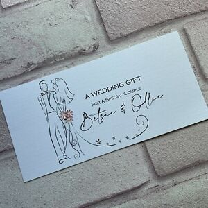 Personalised Handmade Money/Voucher/Gift Card Wallet WEDDING DAY FT1