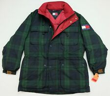 Rare VTG TOMMY HILFIGER Plaid Spell Out Flag Patch Puffer...