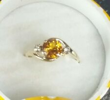SOLID10k Yellow Gold Vintage Citrine & Diamond Ring Size 6 SOLITAIRE APPR 6.5 MM