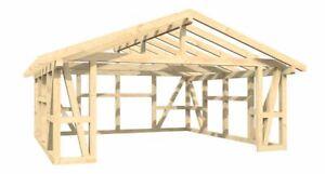 Garage Fachwerk Satteldach 6.00m x 6.00m +Lasur
