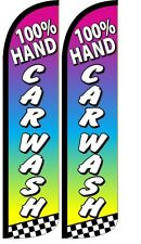100% Hand Car Wash Windless Standard Size Polyester Swooper Flag Sign Pk of 2
