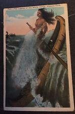 1923 POSTCARD NIAGARA FALLS LEGEND OF THE WHITE CANOE MAIDEN SACRIFICE