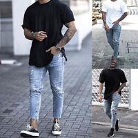 Men Jeans Pants Skinny Ripped Frayed Casual Slim Fit Biker Jogger Denim Trousers