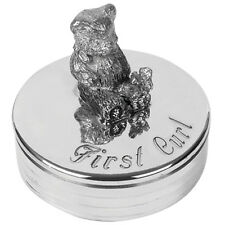 Christening Gift Pewter Teddy Bear First Curl Box