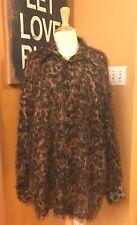 2003 RARE VINTAGE VARJA Leopard Print FLOSSY Long Sleeve Dress Shirt L FREE SHIP