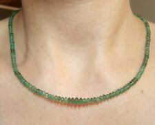 untreated 22ct Zambian Emerald 3mm 5mm medium green 14k gold necklace 16 inch