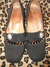 30s-40s Black Suede Chunky Heel Shoe w/ Rhinestone Accent