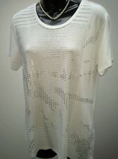 YVONNE BLACK Size 14 White T Shirt With Silver Print Design NWOT RRP $79.95
