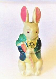 Vintage Adorable Celluloid Dressed Male RABBIT Bunny Holding Large Carrot