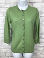 Garnet Hill Lightweight Cashmere Cardigan Sweater Light Green Lime Sz XS