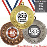 FOOTBALL PLAYER OF THE  MATCH METAL MEDALS 50mm, PACK OF 10 RIBBONS INSERTS LOGO