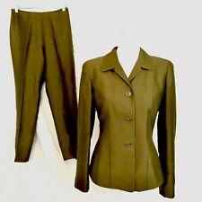 NWOT Ann Taylor Petites 2 piece pant suit size 4 Pant Blazer 4p Olive Green Silk