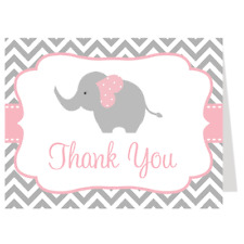 Elephant Thank You Cards, Baby Shower, Birthday, Folding Notes, 24 Count