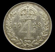 More details for george v 1928 silver maundy fourpence - a/unc