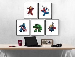Marvel Lego Avengers Superhero Set Of 5 Prints Pictures Wall Art Poster