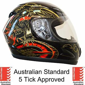 NEW FULL FACE MOTORCYCLE MOTOR BIKE HELMET ADULT 5 tick approved DRAGON