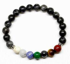 7 equilibrio de Reiki LABRADORITA piedra preciosa del grano de Chakra Pulsera para hombre señoras UK