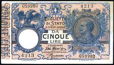 5 lire BIGLIETTO DI STATO  29/07/1918  Serie 4213 q.fds lotto 313