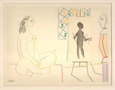 PABLO PICASSO - FARBLITHOGRAFIE in  8  Farben Editeur: Tériade - MANN UND MODELL