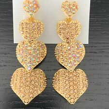 Gold Crystal Fashion Drop Heart Earrings made with Genuine Swarovski Elements