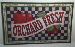 Orchard Fresh Apples Metal Tin Sign Kitchen, Dining, Restaurant Decor - New