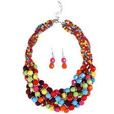 US Fashion Multiple Bead Torsade Chunky Bib Choker Collar Necklace Earrings Set