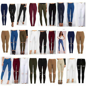 WOMENS LADIES GIRLS HIGH WAISTED KNEE RIPPED TUBE SKINNY JEANS SIZE  6 TO 24