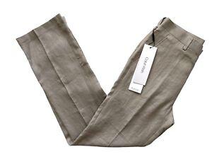 Calvin Klein Nwt Men's 100% Linen Flat Front Jonny Grey SLIM Fit Pants Slacks