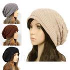 Women Winter Plicate Baggy Beanie Knit Crochet Ski Hat oversized Xmas Cap m20