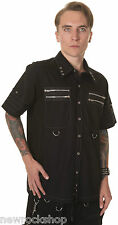 New Dead Threads Shirt Zip Studs Men Metal Punk Emo Rock