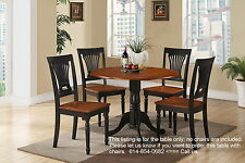 "42"" Round Dublin drop-leaf pedestal kitchen table without chair in cherry black"
