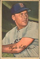1952 Bowman Boston Red Sox Baseball Card #57 Clyde Vollmer - EX-MT