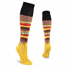 K.Bell Burger And Fries Yellow Brown Red Knee High Cotton Blend Socks Ladies New