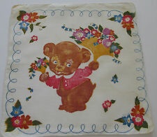 Vintage Childs White Batiste Hankie Teddy Bear Flowers Hand Rolled Edge, 1950's