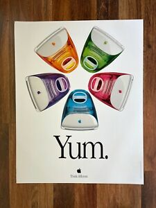 """Vintage 1999 Apple Poster for iMac - """"Yum. Think Different."""" - 22"""" x 28"""""""