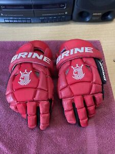 Red Black Brine Warrior Sports Lacrosse LAX Gloves Large