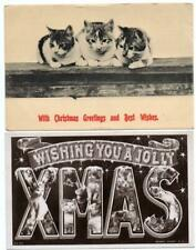 Two XMAS Large Letter Cats and  Three Kittens on Wakk  Christmas  Postcards
