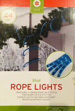 New listing 25.6 Ft Blue Rope Lights Clear Bulbs