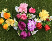 4 Bunches Of Artificial Roses Dahlia And Lily Bunches Home Garden Grave Craft