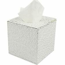 Xcsy Modern Facial Tissue Box Cover, Pu Leather Tissue Box Silver in White