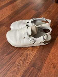 Birkenstock Sling-back Leather Clog Sandals White EUR 39 Womens 8 US / Mens 6 US