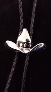 Ten Gallon Cowboy Hat Bolo Tie.  Black Braided Tie. Superb Shape.