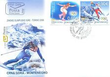2006, FDC, Winter Olympic Games, Turin, Italy, Montenegro, MNH