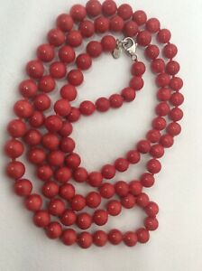 """Beautiful Luc Sterling silver 925 Round Red Coral necklace 35"""""""