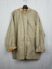 Totes Womens Khaki Tan Nylon Light Weight Rain Coat size Large L Zip Front Lined