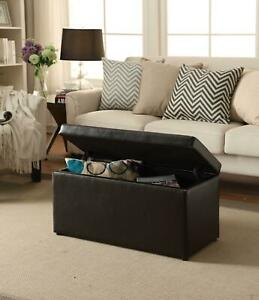 OTTOMAN STORAGE BENCH STOOL Leather Faux Seat Box Chest Large Bedroom Home Decor
