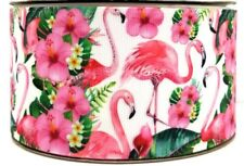 "PINK FLAMINGO FLOWERS LEAVES - GROSGRAIN RIBBON 25mm / 1""-1-3mtr"